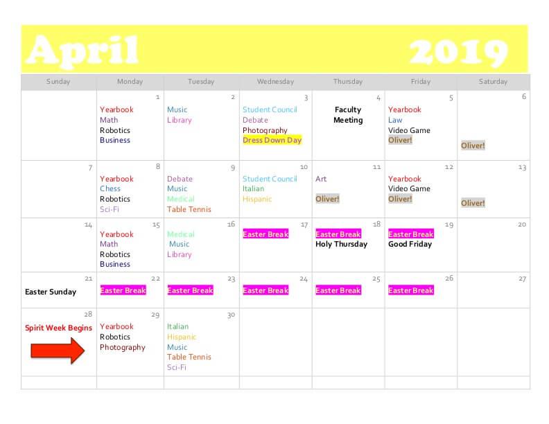 April club calendar